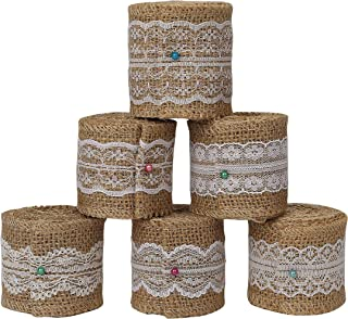 Burlap Lace Natural Craft Ribbon Roll Jute Trims for DIY, Rustic Wedding Decoration, Home Decor and Gift Wrapping, 6 Rolls