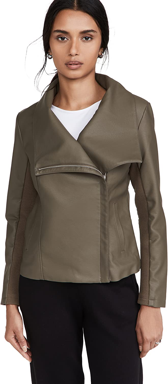 BB Dakota by Steve Madden Women's Up to Speed Vegan Leather Jacket with Rib Knit Undersleeve