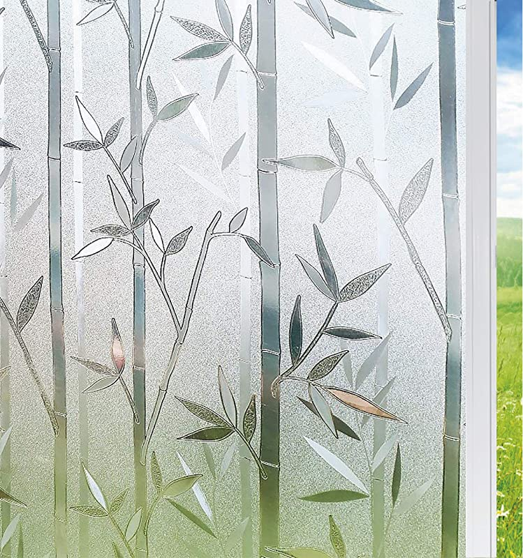 Solardiamond Privacy Window Film Frosted Film Decorative Window Cling Anti UV Glass Films Non Adhesive Bamboo Films For Living Room Bedroom Kitchen Lobby Porch Office 17 7in By 78 7in 45 X 200cm