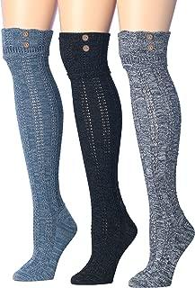 Women's 3-Pairs Winter Warm Knee High Cotton-Blend Boot Socks