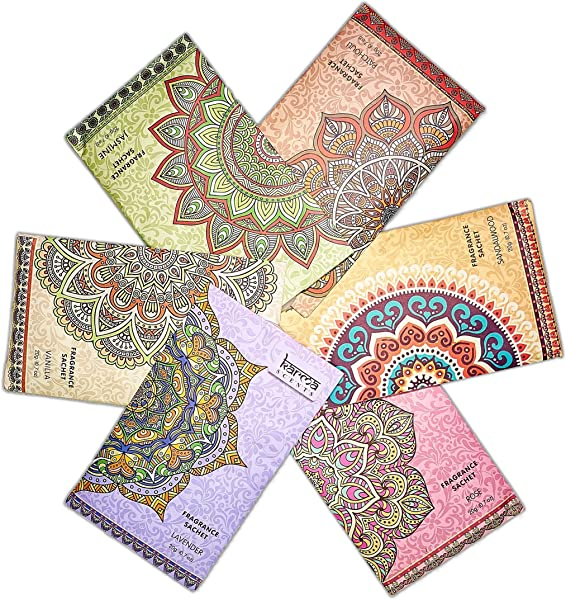 Premium Scented Sachets For Drawers Closets And Cars Lovely Fresh Fragrance Lot Of 18 Bags By Karma Scents Contains 6 Great Smelling Flavors Vanilla Sandalwood Jasmine Lavender Patchouli And Rose