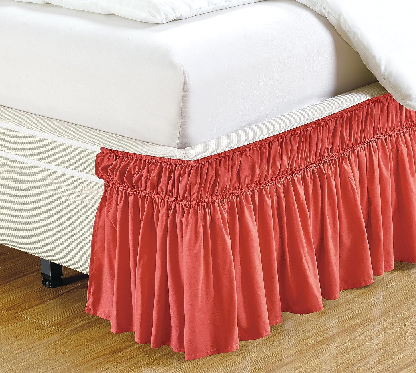 書き込み精度ブルファンシーコレクション イージーフィット ベッドラッフルラップアラウンドゴムベッドスカート 43.18cmドロップ 簡単取り付け 無地 (ツイン/フル、コーラル)
