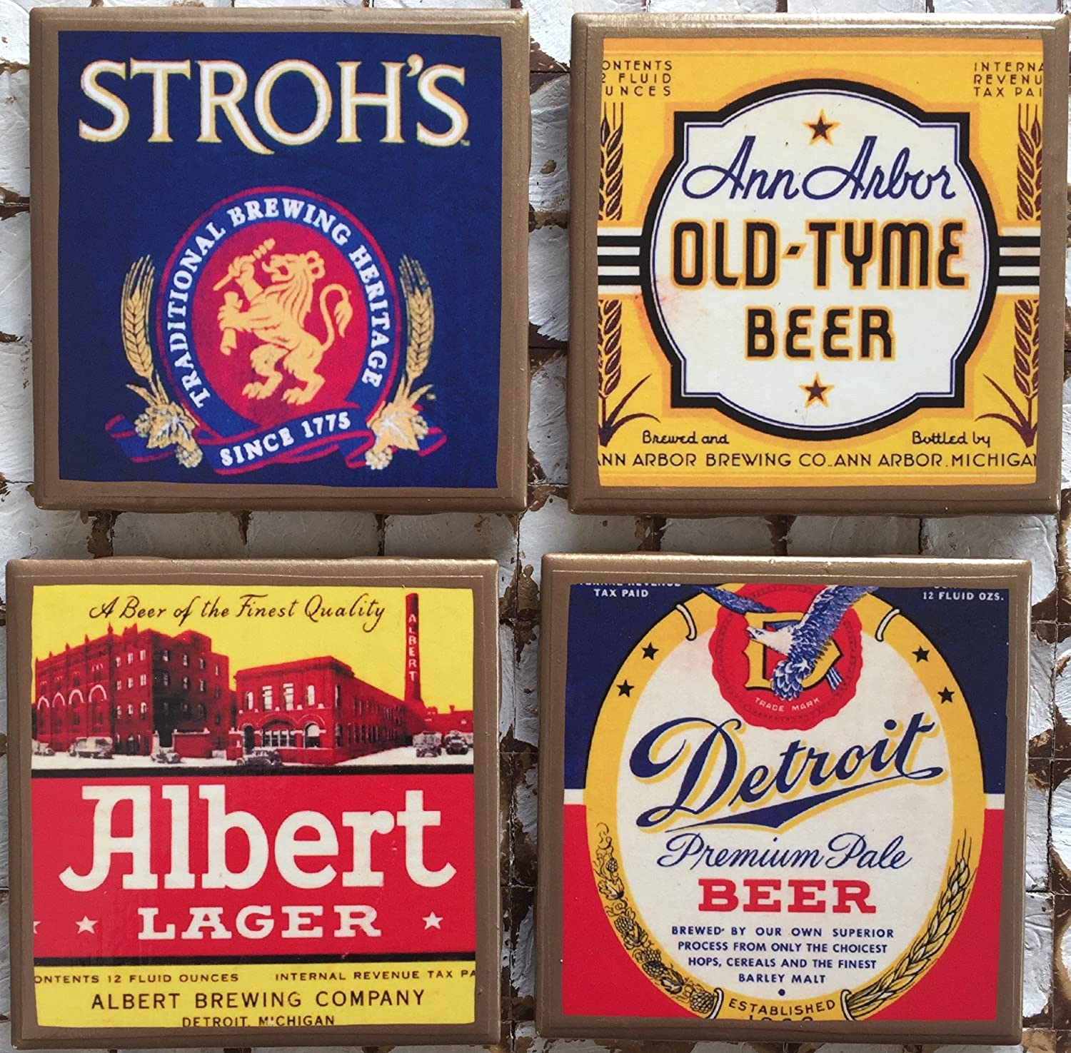 Detroit area vintage beer Cheap mail order Deluxe sales coasters with Albe gold trim. Stroh's