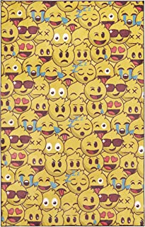 Mohawk Home Z0432 A432 060096 EC Prismatic Yellow Emoji Play Printed Contemporary Kids Area Rug, 5'x8',