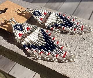 Patriots Inspired Handmade Traditional Beaded Earrings
