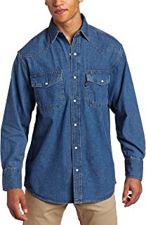 Key Apparel Men's Long Sleeve Enzyme Washed Western Snap