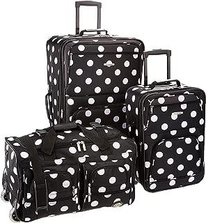 Luggage 3 Piece Printed Luggage Set, Black Dot, Medium