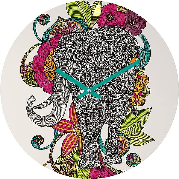 Deny Designs Valentina Ramos Ruby The Elephant Round Clock Round 12