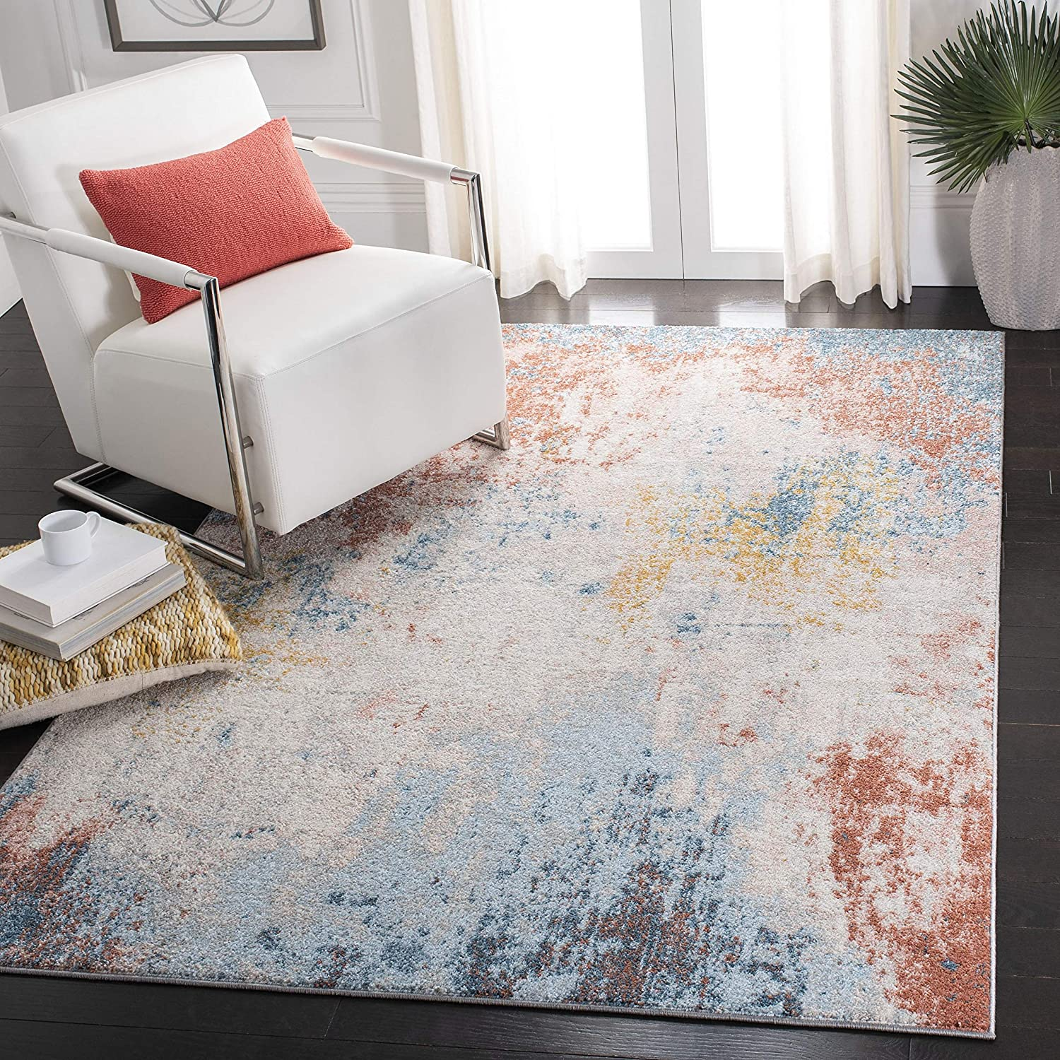 Safavieh Tulum Collection Same day Max 86% OFF shipping TUL207A S Modern Non-Shedding Abstract