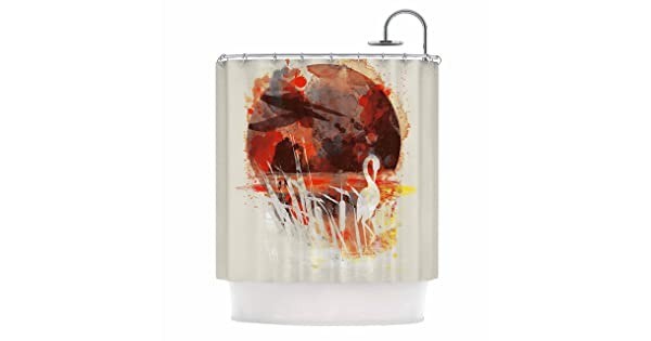 Kess InHouse Frederic Levy-Hadida Moon Painted with Tea Beige Orange Digital 69 x 70 Shower Curtain