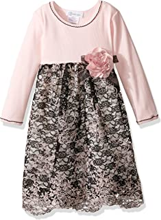 Bonnie Jean Girls' Knit to Floral Embroidered Scallop Dress