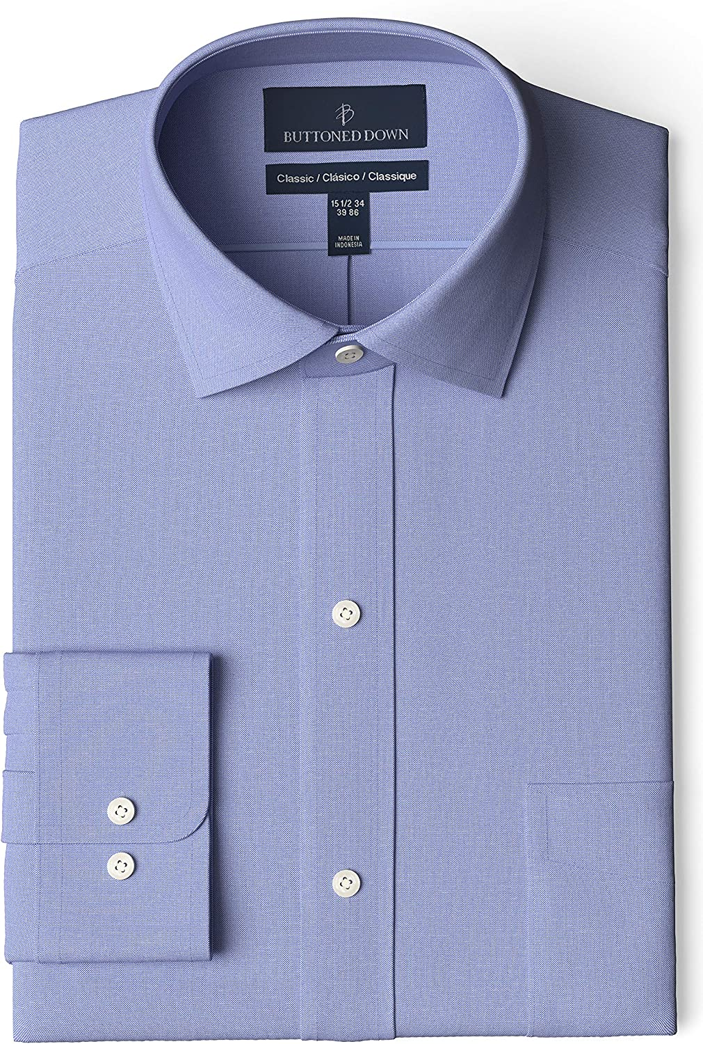 Buttoned 2021 new Down Men's Selling Classic-Fit Solid Pocke Shirt Non-Iron Dress