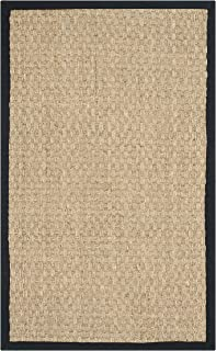 Safavieh Natural Fiber Collection NF114C Basketweave Natural and Black Summer Seagrass Area Rug (2' x 3')