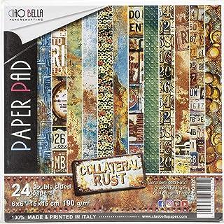 CIAO BELLA PAPER COLLATERAL RUST 6X6 24/PK, Óxido colateral, 12 diseños/2 cada uno, talla única