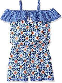 90d3c38a20f My Michelle Girls  Big Printed Cold Shoulder Romper with Ruffle Details