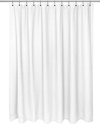 "Carnation Home Fashions Chevron Weave 100% Cotton, Size 72""x72"" in White Shower Curtain"