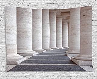 Ambesonne Pillar Tapestry, Theme Roman Columns Stone Pillars Old Architecture Theme Digital Image, Wide Wall Hanging for Bedroom Living Room Dorm, 80