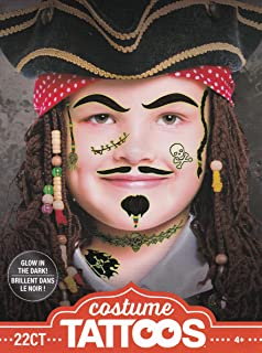 Halloween Realistic Glow-in-the-Dark Temporary Costume Make Up Face Tattoo Kit Boy or Girl - (Child Pirate) - 2 Kits