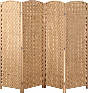 MyGift Freestanding 4 Hinged Panel Woven Beige Wood Privacy Room Divider Partition Screen