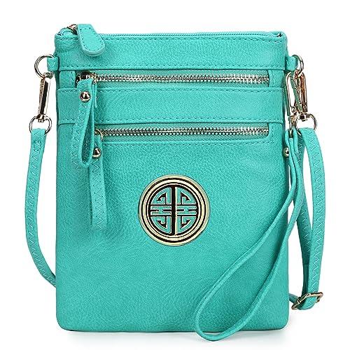 eebe5ac5e35b Solene Women s Rich Faux Leather Organizer Multi Zipper Pockets Handbag  With Detachable Wristlet Crossbody Bag