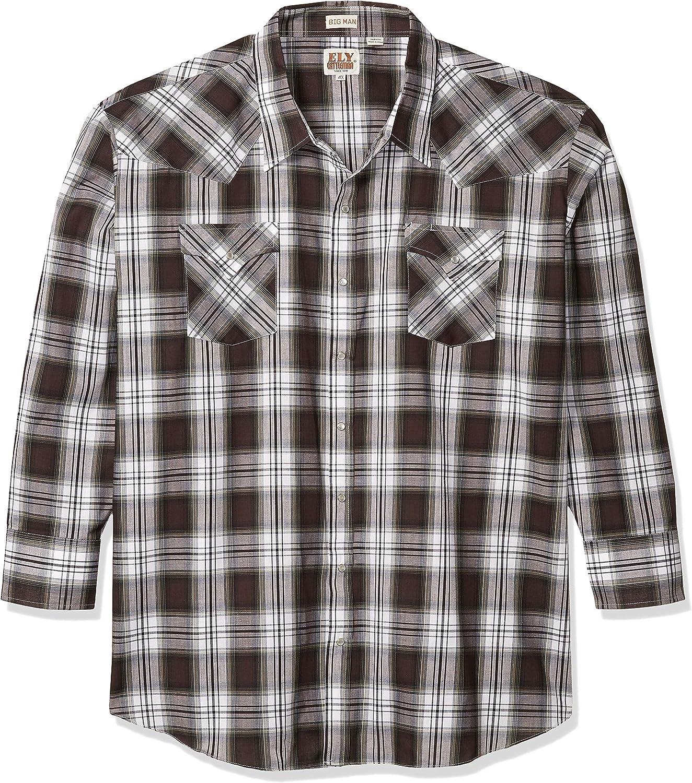 ELY CATTLEMAN Men's Long Sleeve Classic Western Plaid Shirt