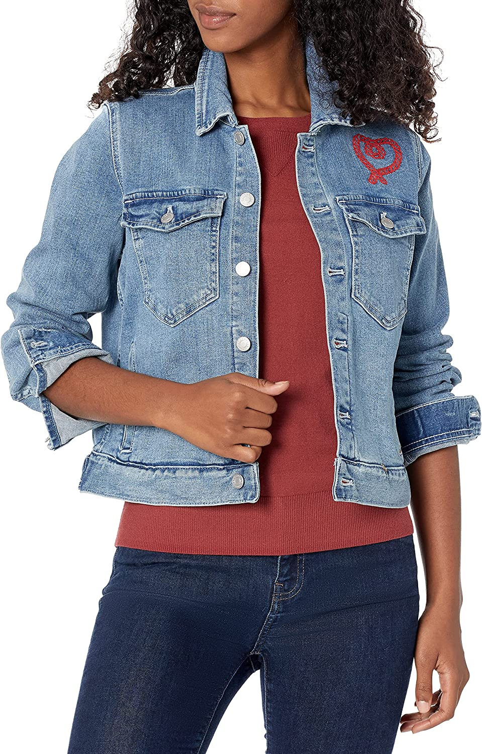 J.Crew Mercantile Women's Cropped Embroidered Denim Jacket