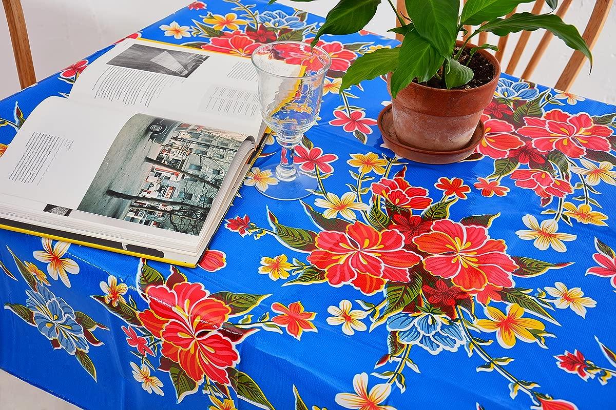 Hibiscus Flours Oilcloth Tablecloth Blue And Red Plastic Vinyl PVC Mantel De Plastico 55W X 70L Oval