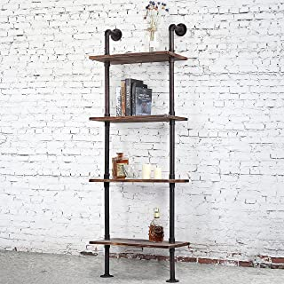 MyGift Industrial Style Metal and Wood Wall-Mounted 4-Tier Display Shelf/Utility Rack