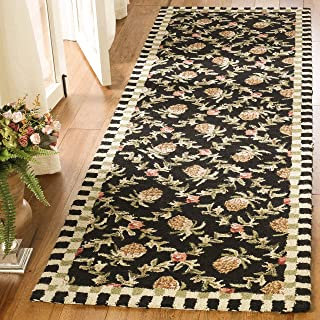 Safavieh Chelsea Collection HK164A Hand-Hooked Black and Ivory Premium Wool Runner (2'6