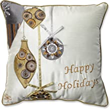 Pillow Perfect Holiday Ornaments Throw Pillow, 16.5-Inch, Gold/Silver