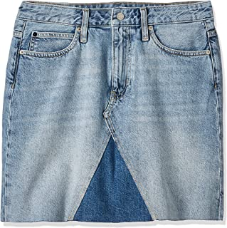 Calvin Klein Jeans Women's Mid Rise Mini Skirt, Blue (Aa035 Light Blue With Prairie Patch 911), NI28