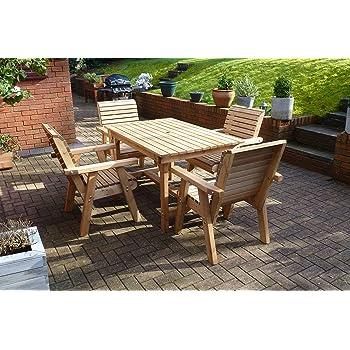 Jati Teak Round Garden Table And 4 Chairs Set Outdoor