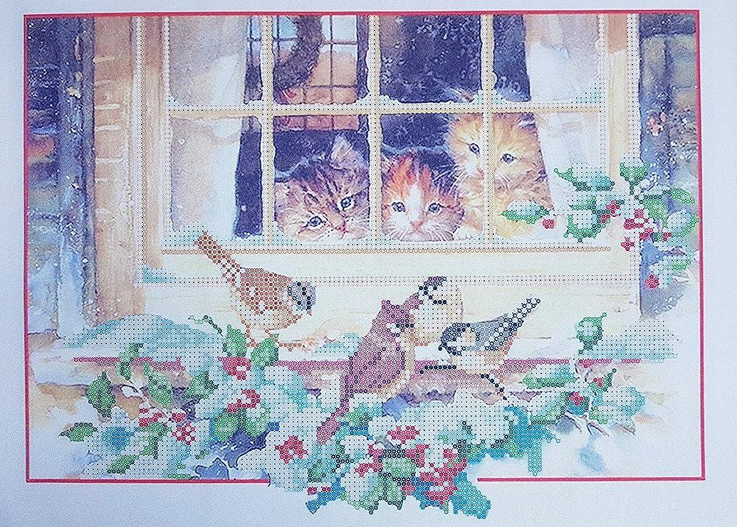 Christmas Kittens Bead Embroidery kit Cat Needlepoint Kits Beaded Cross Stitch 3D Beaded Painting Handcraft Set Beading Set Perle