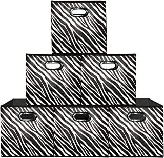 Prorighty [6-Pack, Zebra Pattern] Storage Bins, Containers, Boxes, Tote, Baskets | Black&White Collapsible Storage Cubes Nursery Office Organization | 12inch Cubes
