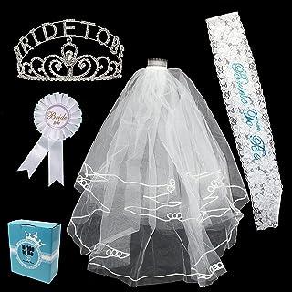 JOYIN 5 Pieces Bride to Be Bachelorette Party Accessory Kit Including Bride to Be Lace Sash, Rhinestone Glittering Tiara, Bridal Veil