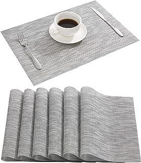 طقم مفارش أطباق رمادية اللون من دولوبل، مكون من 8 مفارش طاولة منسوجة من الفينيل سهلة التنظيف وقابلة للمسح لطاولة الطعام