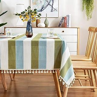 AmHoo مخطط شرابة مفرش طاولة خياطة مستطيلة القماش القطن والكتان غطاء طاولة لطعام المطبخ 54 × 120 بوصة أخضر