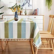 AmHoo Striped Tassel Tablecloth Stitching Rectangle Table Cloth Cotton Linen Fabric Table Cover for Kitchen Dinning Tablet...