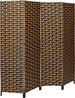 MyGift Decorative Freestanding Black & Brown Woven Design Wood Privacy Room Divider Folding Screen, 4-Panel