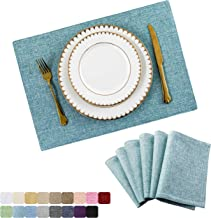 Home Brilliant Placemats Set of 6 Heat Resistant Dining Table Place Mats for Kitchen Table, 13 x 19 inches, Teal