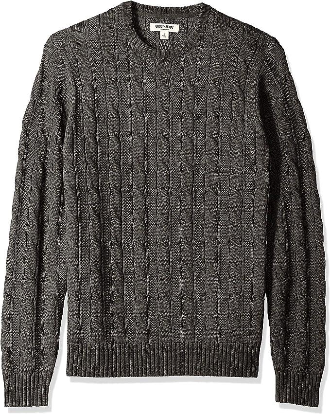 Marca solid burgundy Jersey de algod/ón suave de punto trenzado con cuello redondo para hombre Goodthreads Morado XX-Large