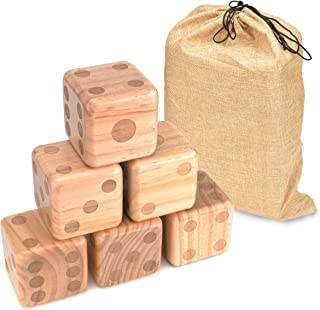 Trademark Innovations Giant Wood Yard Dice with Carry Bag, 3.5""