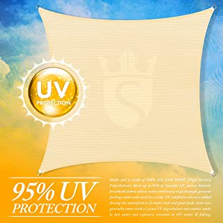 Royal Shade 12' x 12' Beige Square Sun Shade Sail Canopy Outdoor Patio Fabric Shelter Cloth Screen Awning - 95% UV Protection, 200 GSM, Heavy Duty, 5 Years Warranty, We Make Custom Size