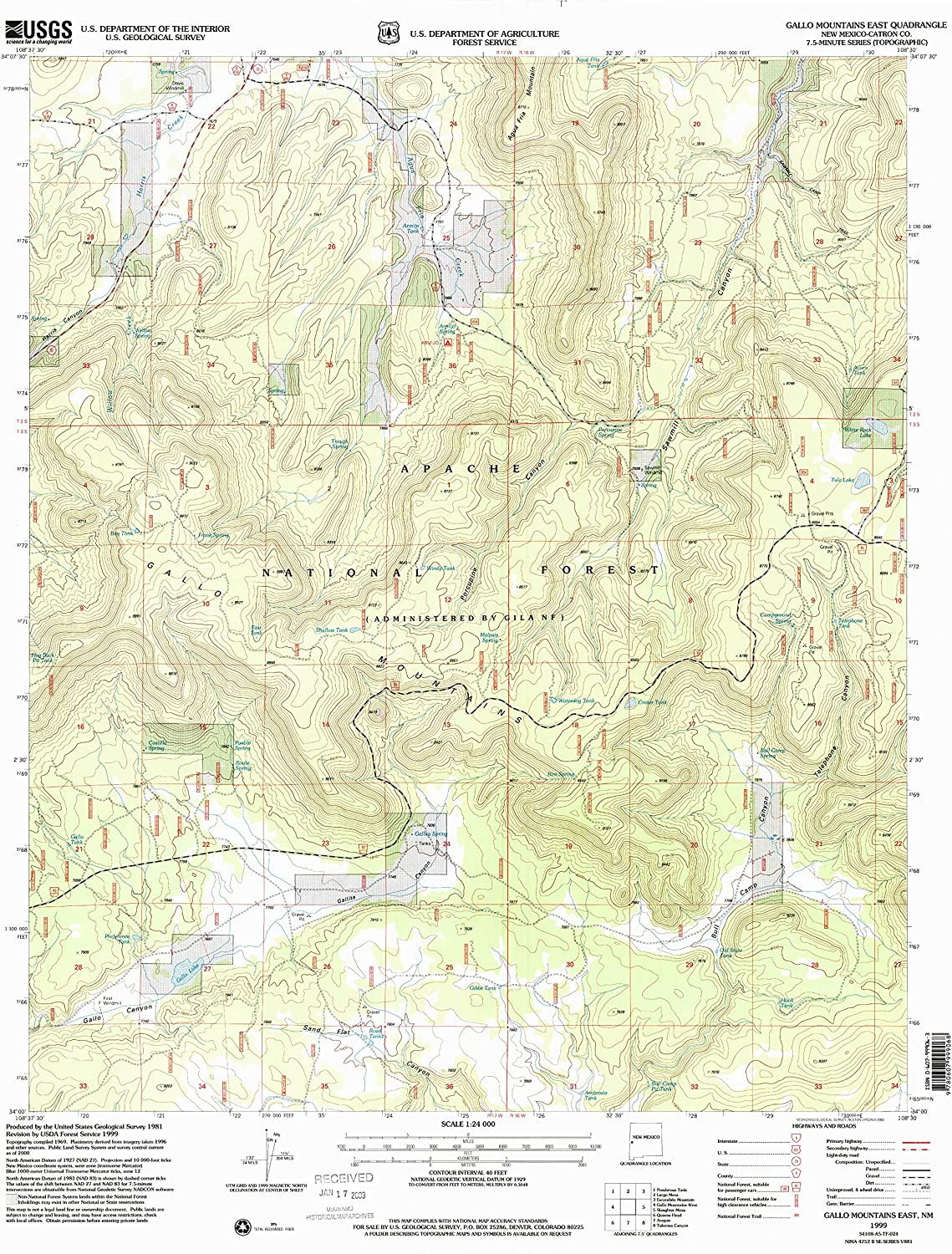 Gallo Mountains East NM topo map, 1 24000 Scale, 7.5 X 7.5 Minute, Historical, 1999, Updated 2002, 27 x 22 in