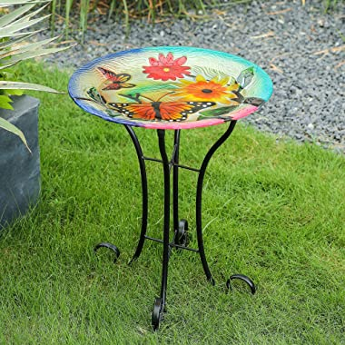 LuxenHöme Butterflies with Flowers Bird Bath with Stand