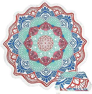 68fefb3143cd6 Leana Collection Serviette De Plage Ronde Tapisserie avec Frange Mandala  Épaisse Coton Ultra-épais Tapis
