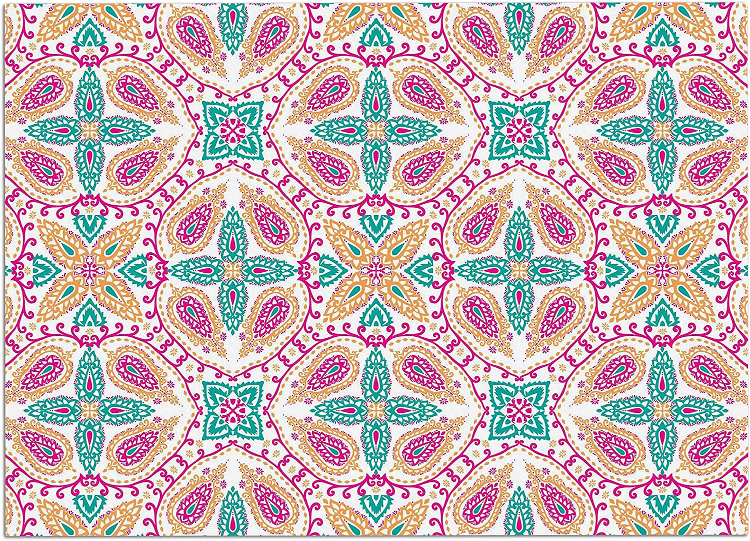 KESS InHouse NS2044ADM02 Nandita Singh Boho in Multicolor Pink Abstract Dog Place Mat, 24  x 15