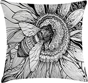 Ambesonne Nature Throw Pillow Cushion Cover, Bee on a Flower Honey Pollen Floral Mother Earth Phase Wildlife Digital Print, Decorative Square Accent Pillow Case, 20