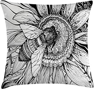 Ambesonne Nature Decor Throw Pillow Cushion Cover by, Bee on a Flower Honey Pollen Floral Mother Earth Phase Wildlife Digital Print, Decorative Square Accent Pillow Case, 24 X 24 Inches, Black White