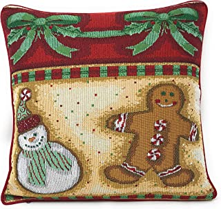 DaDa Bedding Throw Pillow Covers - Set of 2 Christmas Gingerbread Tapestry - Festive Holiday Woven Cushion Cases - 16